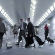 motion blurred people at airport